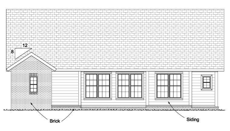 Craftsman Traditional House Plan 61421 Rear Elevation