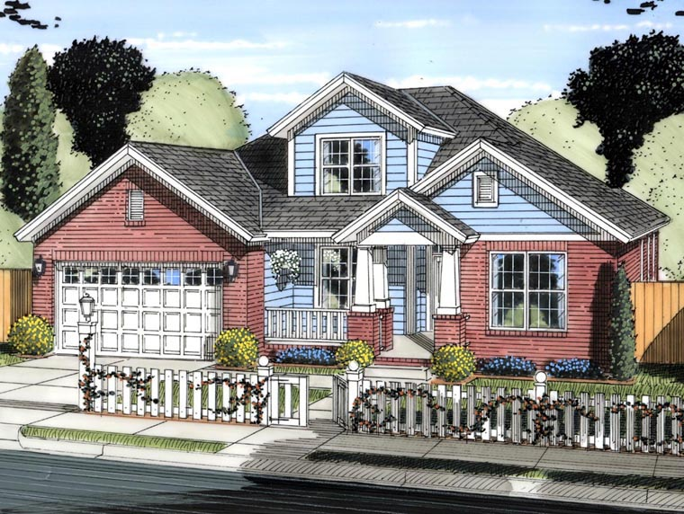 Cottage, Traditional House Plan 61422 with 4 Beds, 3 Baths, 2 Car Garage Elevation