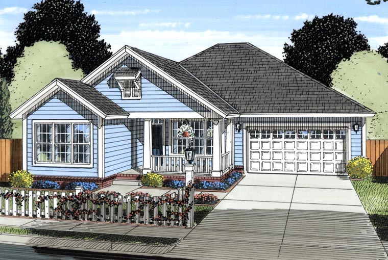 Traditional House Plan 61424 with 3 Beds, 2 Baths, 2 Car Garage Elevation