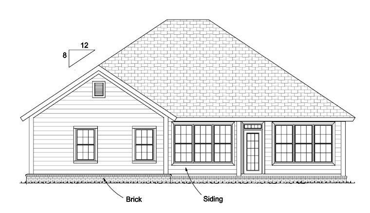 Traditional House Plan 61424 with 3 Beds, 2 Baths, 2 Car Garage Rear Elevation