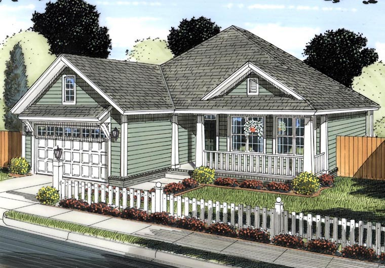 Traditional House Plan 61426 with 3 Beds, 2 Baths, 2 Car Garage Elevation