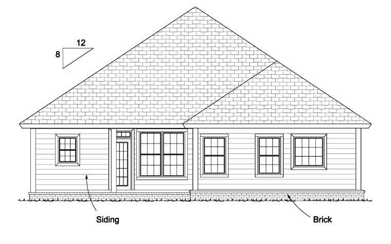 Traditional House Plan 61426 with 3 Beds, 2 Baths, 2 Car Garage Rear Elevation