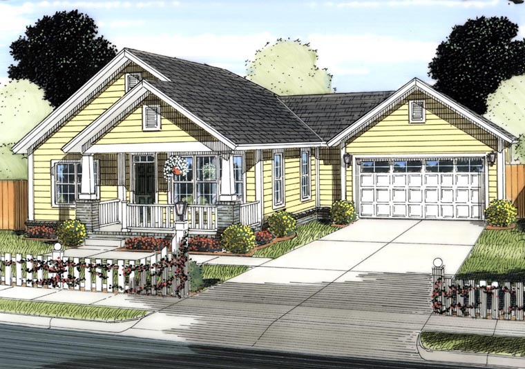 Traditional House Plan 61428 with 2 Beds, 2 Baths, 2 Car Garage Elevation