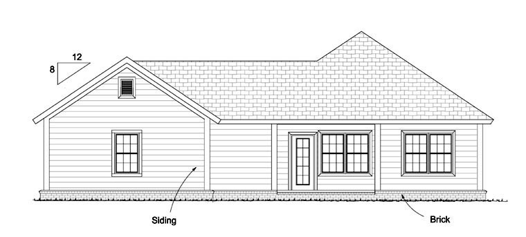 Traditional House Plan 61428 Rear Elevation