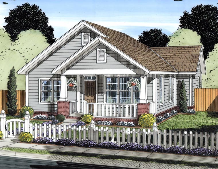 Traditional House Plan 61429 with 2 Beds, 2 Baths Elevation