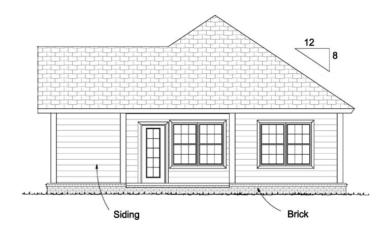Traditional House Plan 61429 with 2 Beds, 2 Baths Rear Elevation