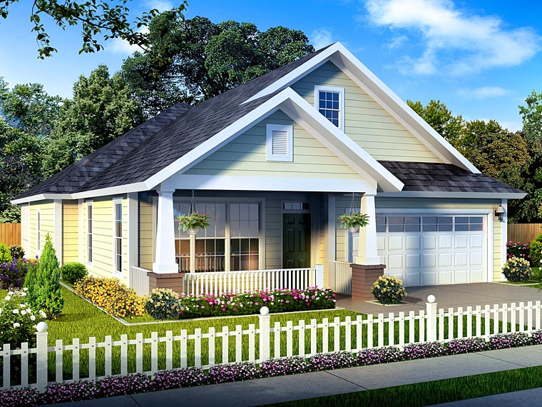 Traditional House Plan 61430 with 3 Beds, 2 Baths, 2 Car Garage Elevation