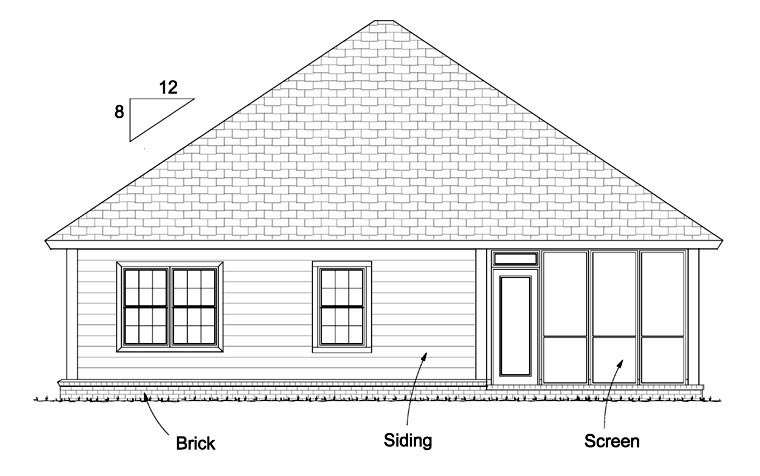 Traditional House Plan 61430 with 3 Beds, 2 Baths, 2 Car Garage Rear Elevation