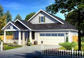 Traditional House Plan 61432 with 3 Beds, 2 Baths, 2 Car Garage Elevation
