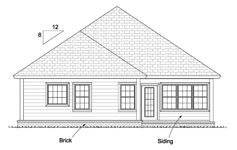 Traditional Rear Elevation of Plan 61432