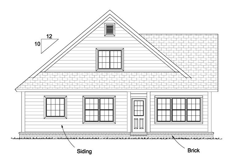 Cottage , Country , Traditional , Rear Elevation of Plan 61433