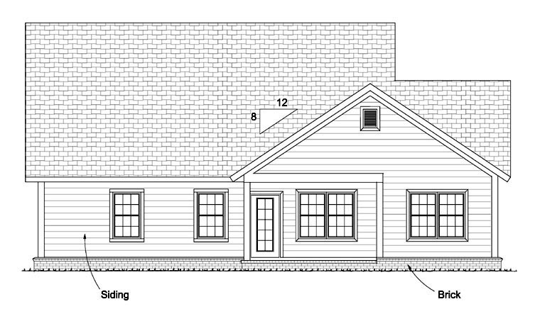 Traditional House Plan 61434 Rear Elevation