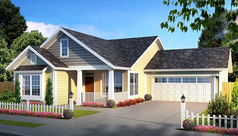 Cottage, Craftsman, Traditional House Plan 61436 with 3 Beds, 2 Baths, 2 Car Garage Elevation
