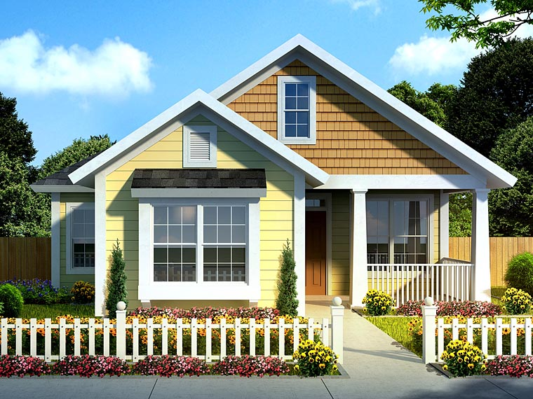 Cottage , Craftsman , Traditional , Elevation of Plan 61437
