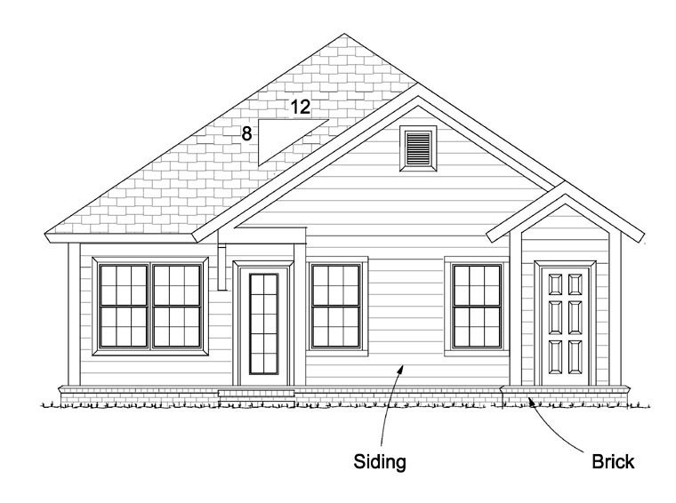 Cottage, Craftsman, Traditional House Plan 61437 with 3 Beds, 2 Baths Rear Elevation