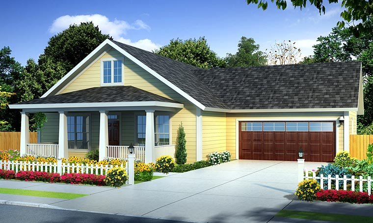 Country, Traditional House Plan 61438 with 3 Beds, 2 Baths, 2 Car Garage Elevation
