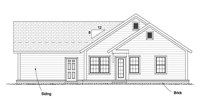 Country Traditional House Plan 61438 Rear Elevation