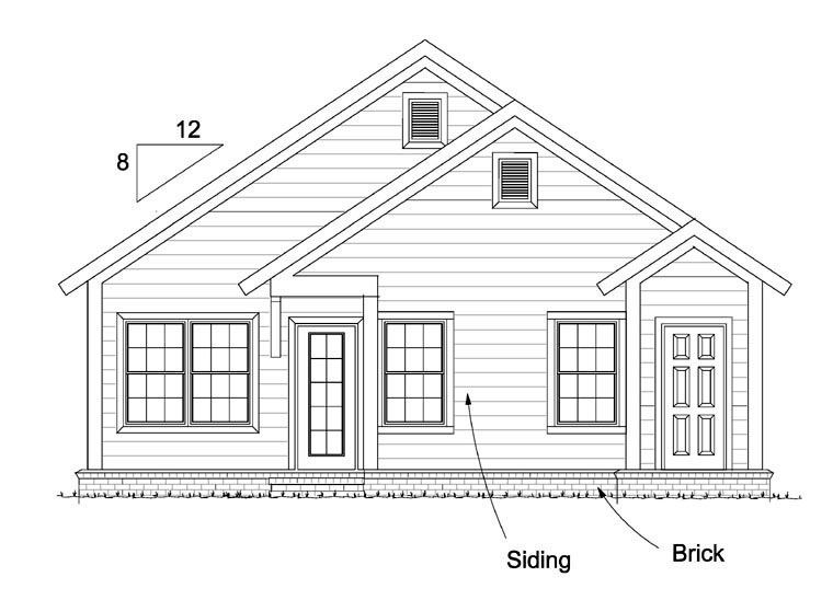 Cottage, Country, Southern, Traditional House Plan 61439 with 3 Beds, 2 Baths Rear Elevation