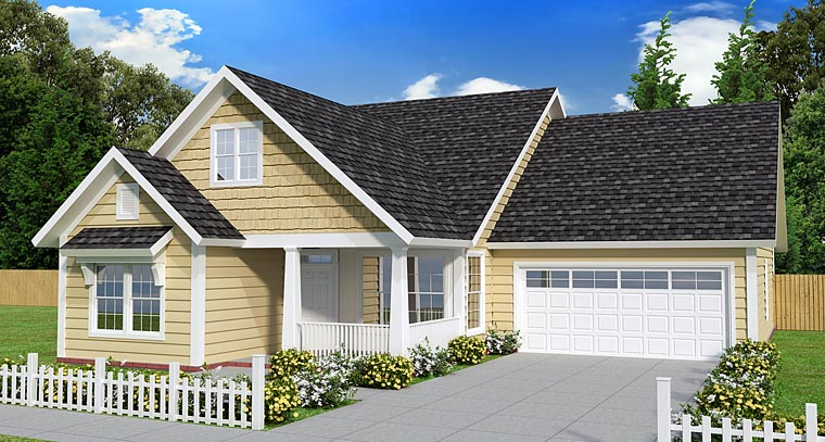 Cottage Craftsman Traditional House Plan 61440 Elevation