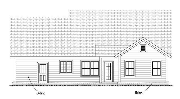 Cottage Craftsman Traditional House Plan 61440 Rear Elevation