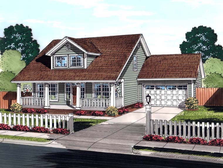 Cape Cod, Country, Southern House Plan 61442 with 3 Beds, 3 Baths, 2 Car Garage Elevation
