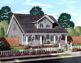 Cape Cod , Country , Southern , Traditional House Plan 61443 with 3 Beds, 3 Baths Elevation