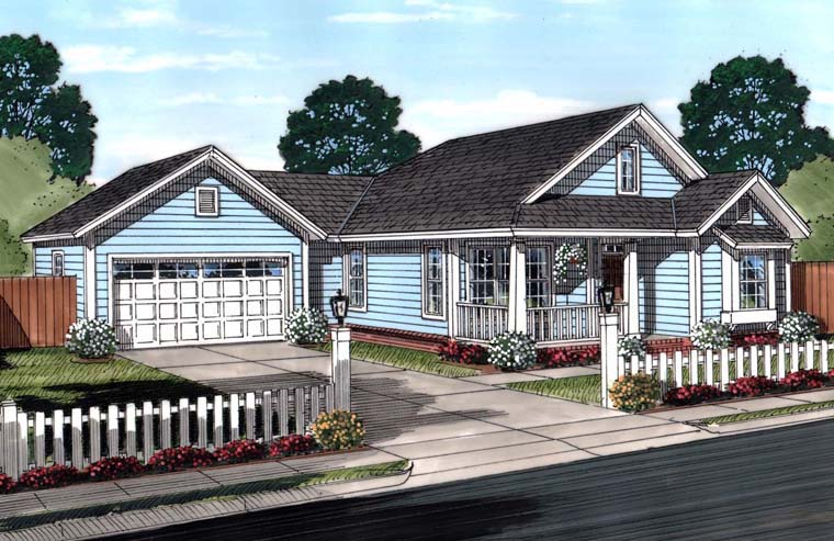 Traditional House Plan 61446 with 3 Beds, 2 Baths, 2 Car Garage Elevation