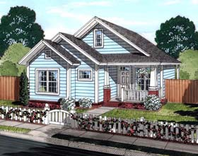 House Plan 61448 | Cottage, Traditional Style House Plan with 1163 Sq Ft, 3 Bed, 2 Bath Elevation