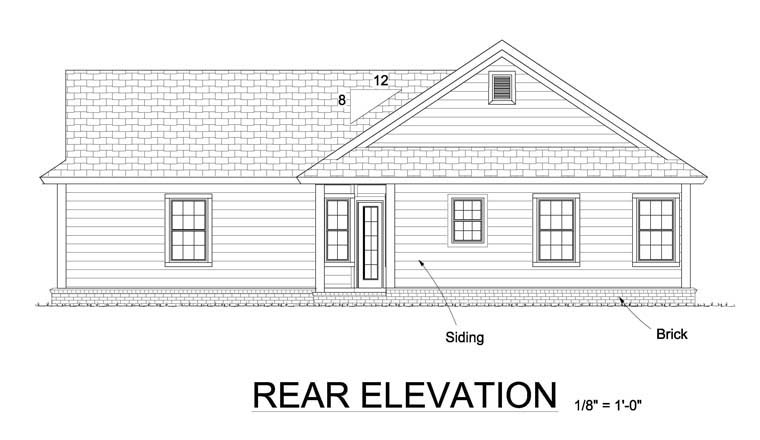 Traditional House Plan 61449 Rear Elevation