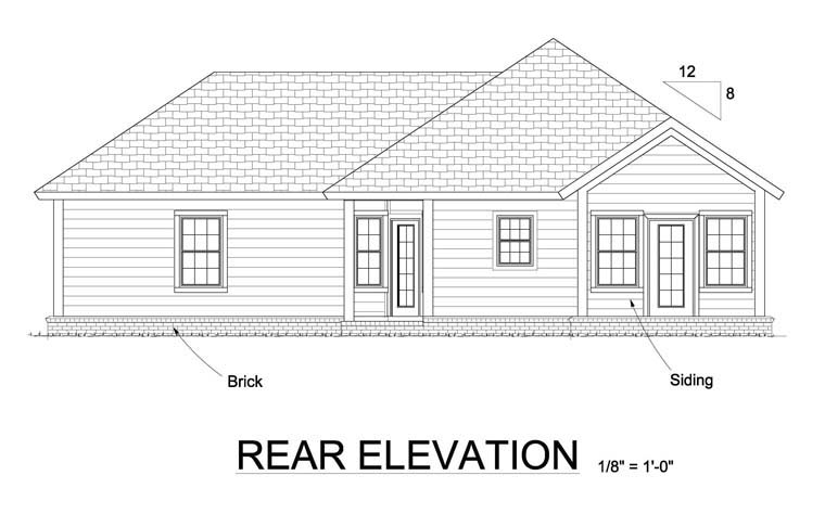 Traditional House Plan 61450 Rear Elevation