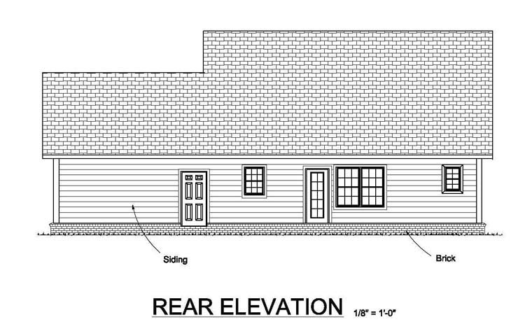 Traditional House Plan 61452 Rear Elevation