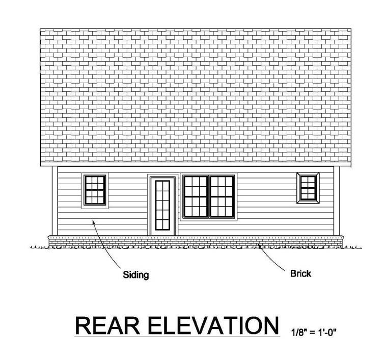 Cottage Country Traditional Rear Elevation of Plan 61453