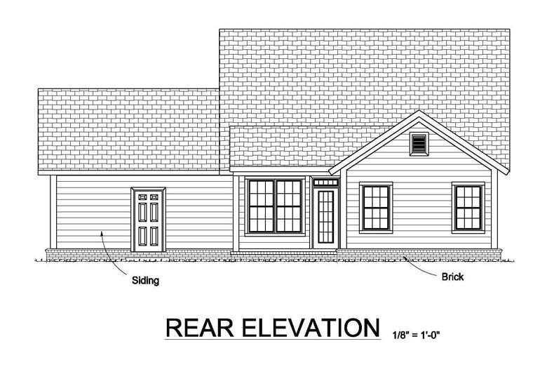 Traditional House Plan 61454 Rear Elevation