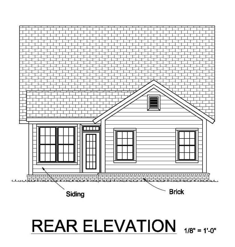 Country Ranch Traditional Rear Elevation of Plan 61455