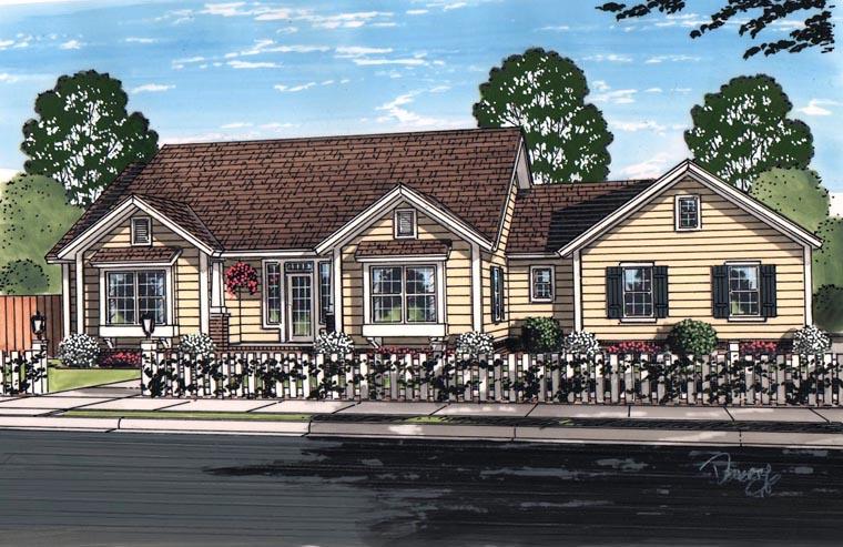 Cottage , Craftsman , Traditional , Elevation of Plan 61456