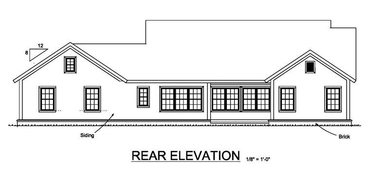 Cottage , Craftsman , Traditional , Rear Elevation of Plan 61456