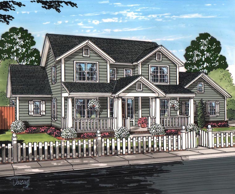 Cottage Craftsman Traditional House Plan 61457 Elevation