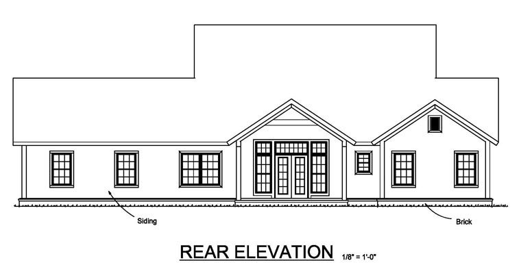 Cottage Craftsman Traditional House Plan 61457 Rear Elevation