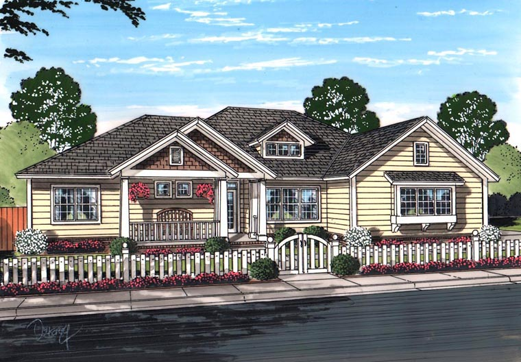 House Plan 61458 | Cottage Craftsman Traditional Style Plan with 2193 Sq Ft, 4 Bedrooms, 3 Bathrooms, 3 Car Garage Elevation