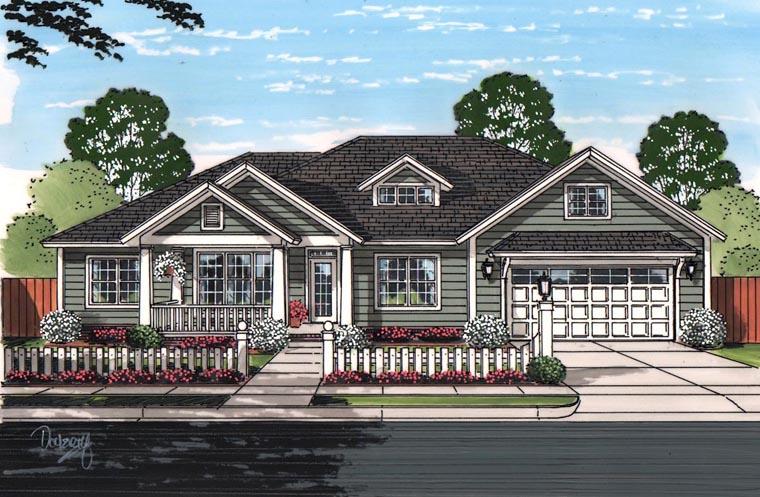 Cottage, Craftsman, Traditional House Plan 61459 with 3 Beds, 2 Baths, 2 Car Garage Elevation