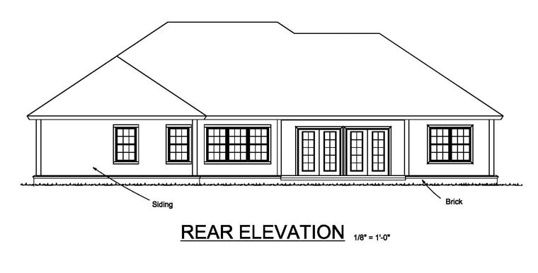 Cottage, Craftsman, Traditional House Plan 61459 with 3 Beds, 2 Baths, 2 Car Garage Rear Elevation