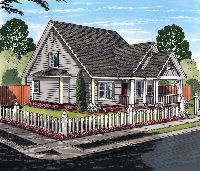 Cottage Craftsman Traditional House Plan 61460 Elevation
