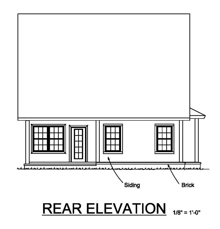 Cottage Craftsman Traditional House Plan 61460 Rear Elevation