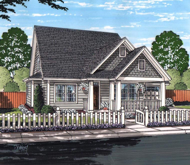 House Plan 61461 | Cottage Craftsman Traditional Style Plan with 1940 Sq Ft, 4 Bedrooms, 4 Bathrooms, 2 Car Garage Elevation