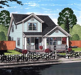 House Plan 61462 | Cottage Craftsman Traditional Style Plan with 2232 Sq Ft, 4 Bedrooms, 4 Bathrooms Elevation