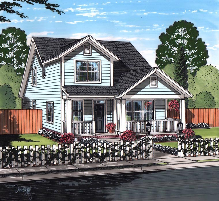 Cottage Craftsman Traditional House Plan 61462 Elevation