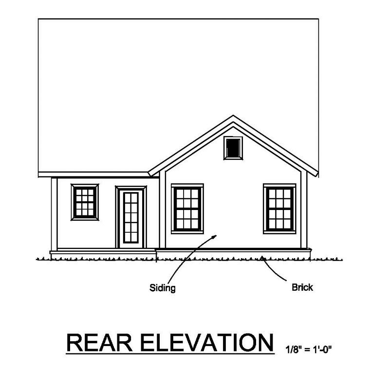 Cottage Craftsman Traditional House Plan 61462 Rear Elevation