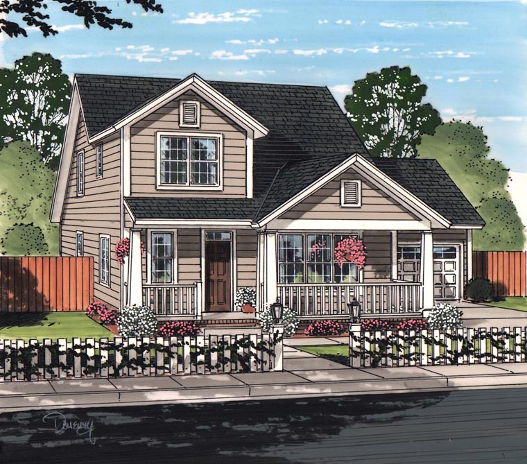 Cottage Craftsman Traditional House Plan 61463 Elevation
