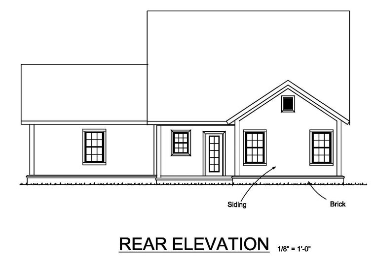 Cottage Craftsman Traditional House Plan 61463 Rear Elevation
