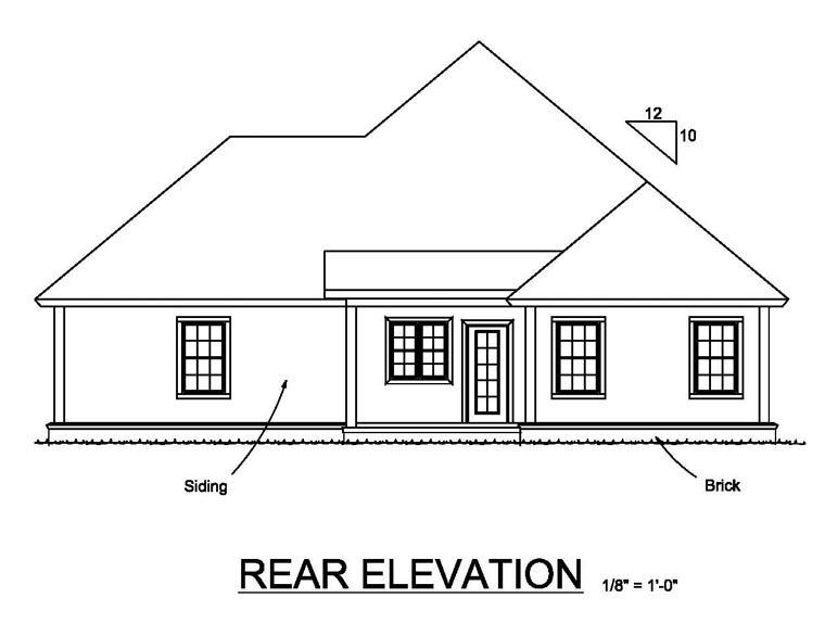 Cottage Craftsman Traditional House Plan 61464 Rear Elevation